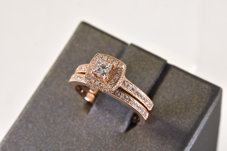 Ladies 14 kt. Rose Gold and Diamond Contemporary Bridal Set 1 ct. tdwt.