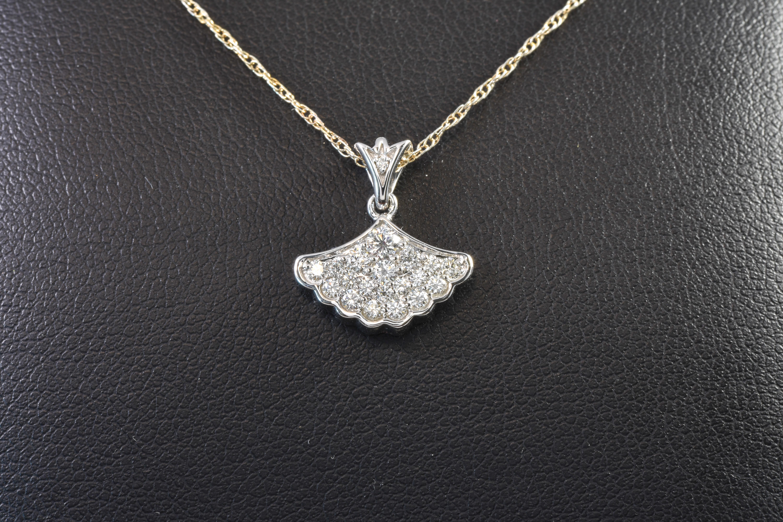14 kt White Gold Radiance Diamond Fan Pendant-sku#16000368