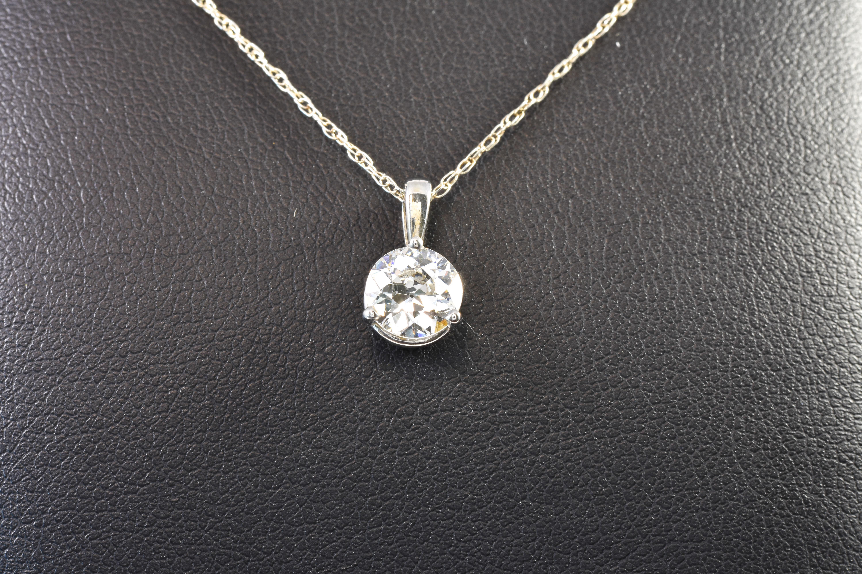 14 kt. White gold Diamond Drop Pendant 1.01 ct Round Diamond sku#16000372