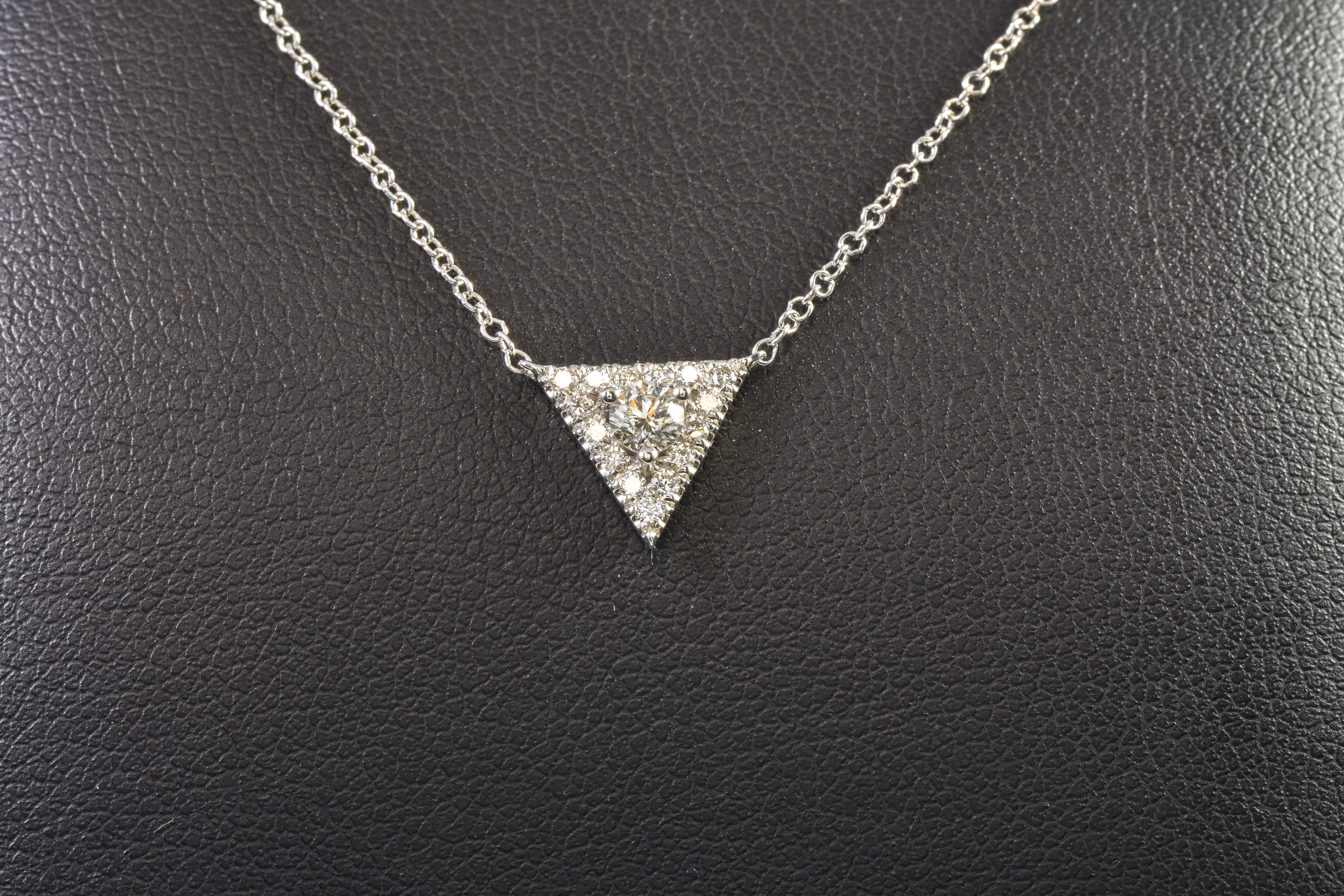 Lady's 14 kt White Gold and Diamond Triangle Necklace