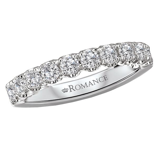 10 Round Diamond Wedding Band in 18kt White Gold 5/8 carat TDWT.