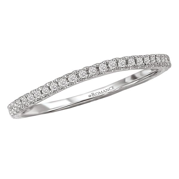 Contoured Diamond Wedding Band.  Set in 18kt. White Gold.  1/7th carat tdwt.