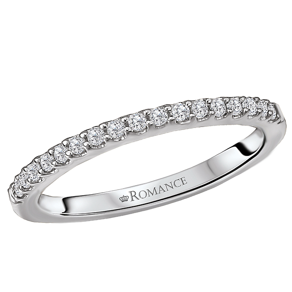 Diamond Wedding Band in 18kt White Gold.  1/6 carat total diamond weight.