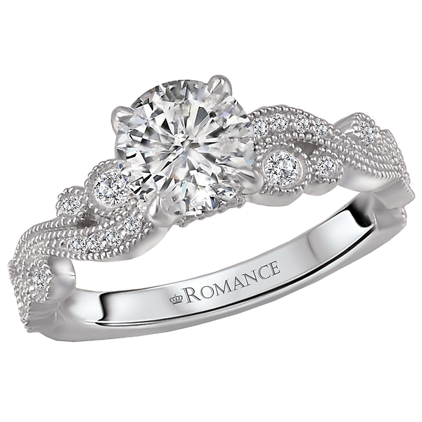 18 kt. White Gold Diamond Semi-Mount.  1/6 carat total diamond weight.