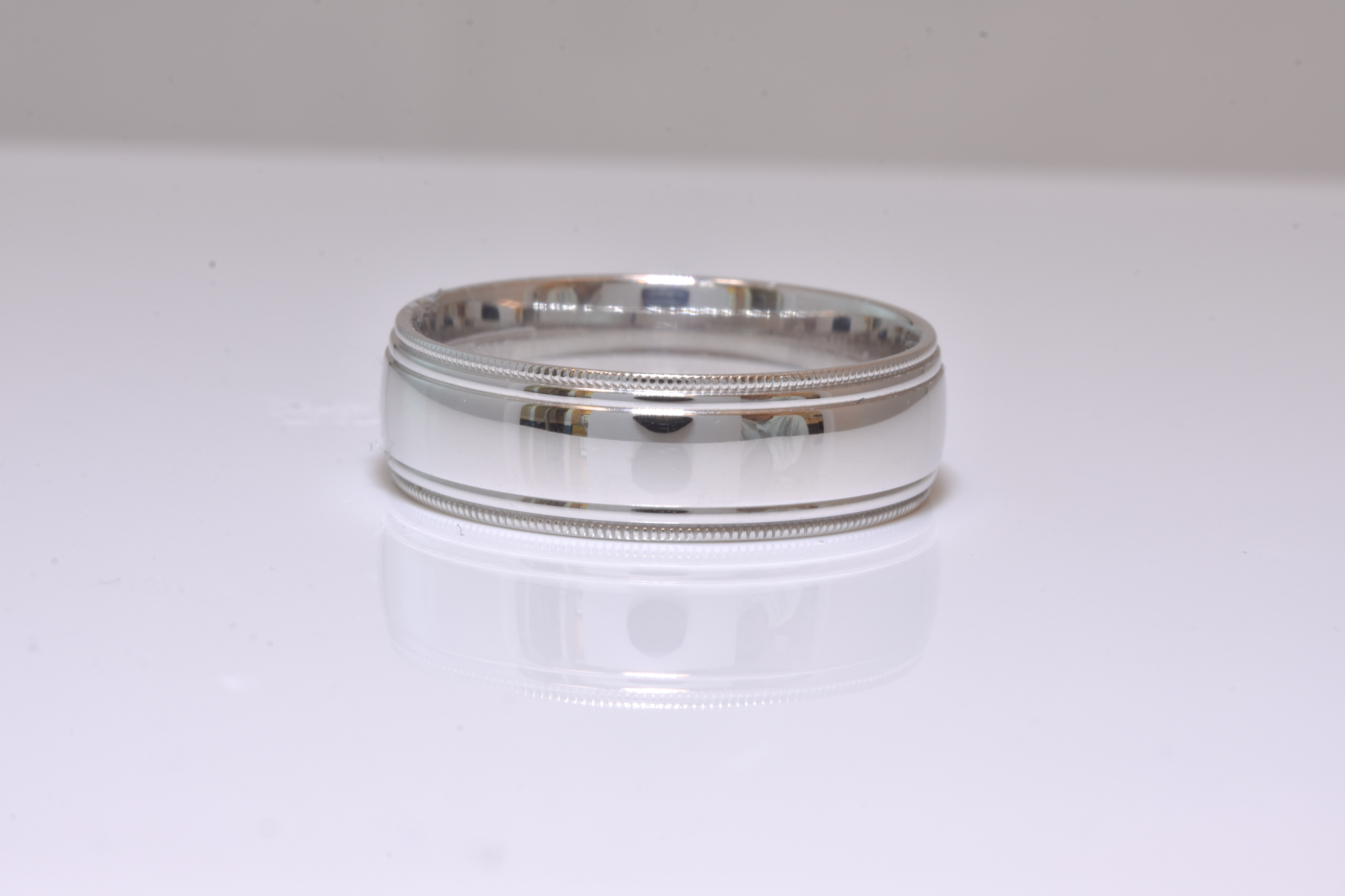 CrownRing-Gent's 14 kt. White Gold Wedding Band.  Accented with Polished Milgrain.  Sku#405-00041