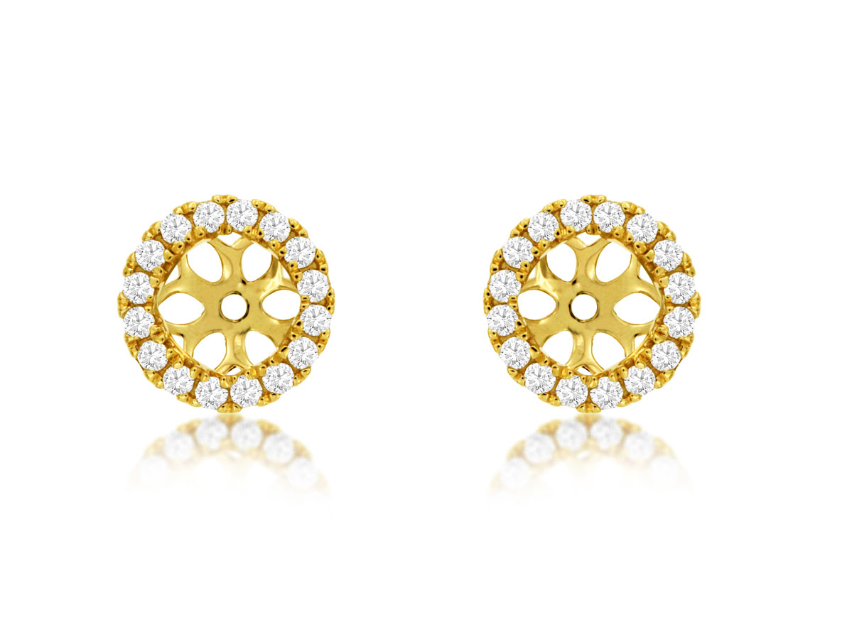 Royal-14 kt. Yellow Gold Diamond Earring Jackets.  .29 ct. tdwt.