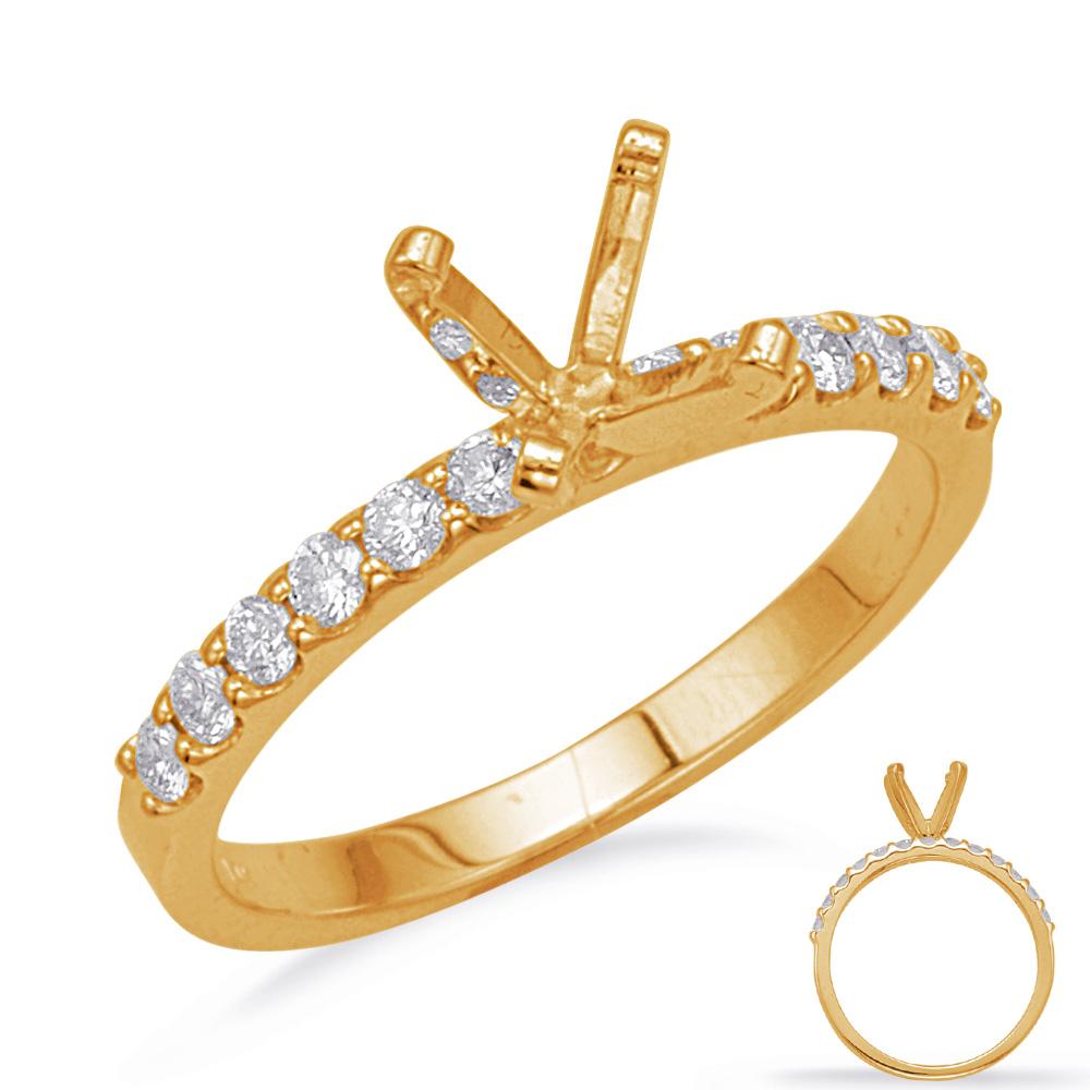 S. KASHI- 0.30 ctw. YELLOW GOLD DIAMOND SEMI MOUNT ENGAGEMENT RING.