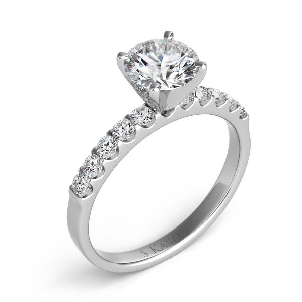 14 KT. WHITE GOLD DIAMOND SEMI MOUNT ENGAGEMENT RING. .40 ct. tdwt