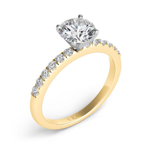 14 kt. YELLOW GOLD DIAMOND SEMI MOUNT ENGAGEMENT RING. 23 ct. tdwt