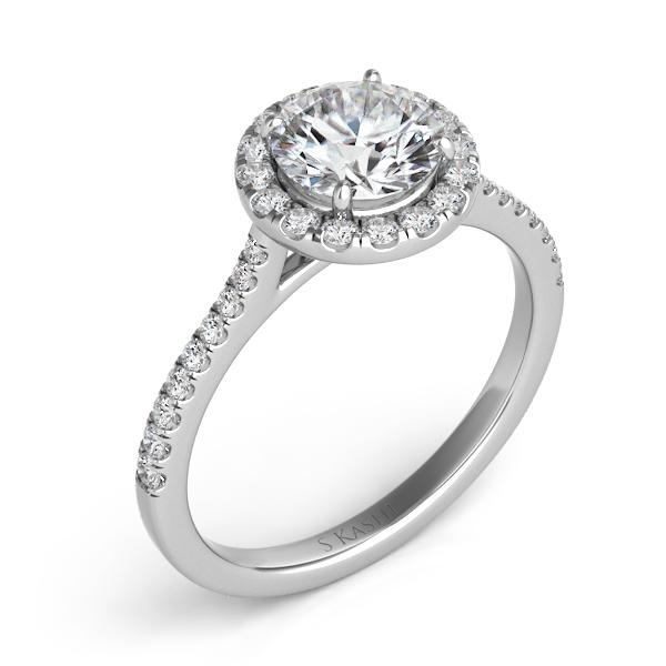 14 kt. WHITE GOLD DIAMOND SEMI MOUNT HALO ENGAGEMENT RING. .28 ct. tdwt