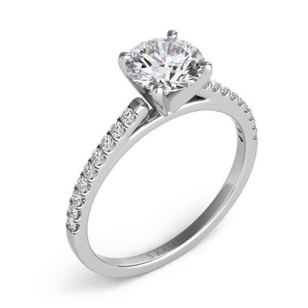 14 kt. WHITE GOLD DIAMOND SEMI MOUNT ENGAGEMENT RING. .18 ct. tdwt.