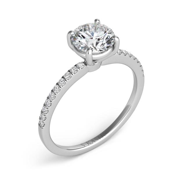 S. Kashi- 0.14 ctw. 14 kt. WHITE GOLD DIAMOND SEMI MOUNT ENGAGEMENT RING. Style # EN7470-1WG