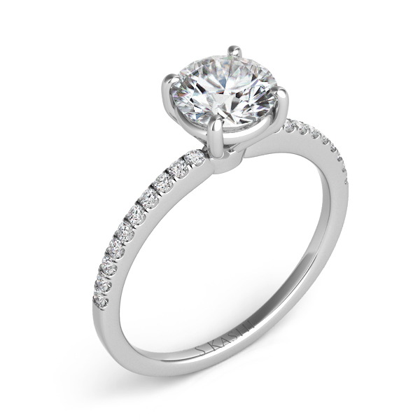 S. Kashi-0.12 ct. tdwt. 14 kt. WHITE GOLD DIAMOND SEMI MOUNT ENGAGEMENT RING.