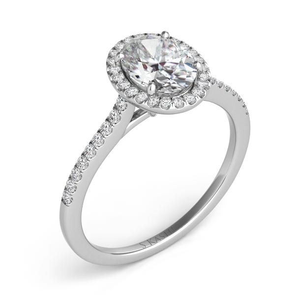 S. KASHI- 0.24 ct. tdwt. 14 kt. WHITE GOLD DIAMOND SEMI MOUNT HALO ENGAGEMENT RING.