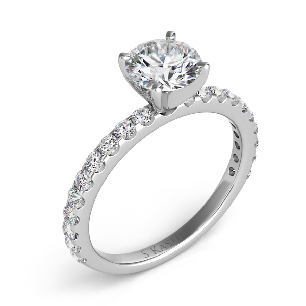 S. KASHI-0.50 ctw. 14 kt. WHITE GOLD DIAMOND SEMI MOUNT ENGAGEMENT RING. Style # EN7581WG