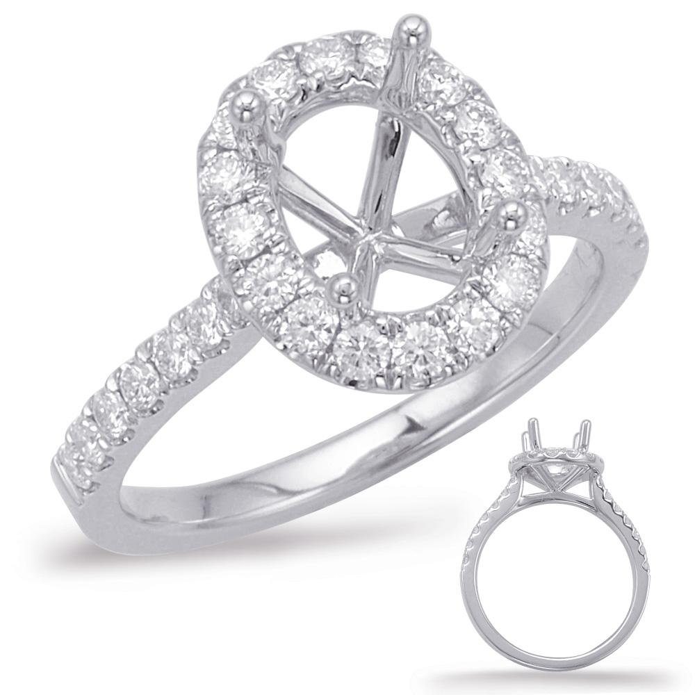 S. KASHI- 0.42 ct tdwt. 14 kt. WHITE GOLD HALO DIAMOND SEMI MOUNT ENGAGEMENT RING.