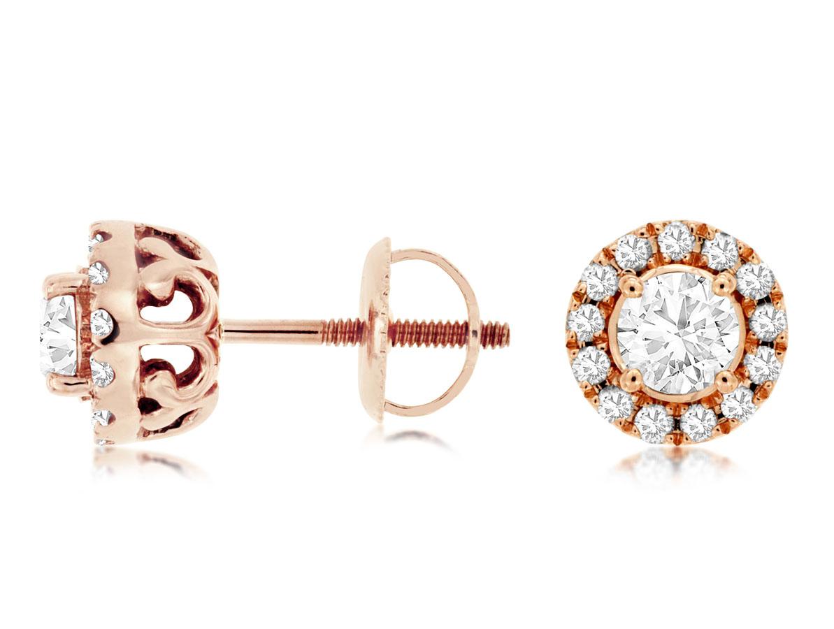 Royal-14 kt. Rose Gold Diamond Earrings.  .90 ct. tdwt.