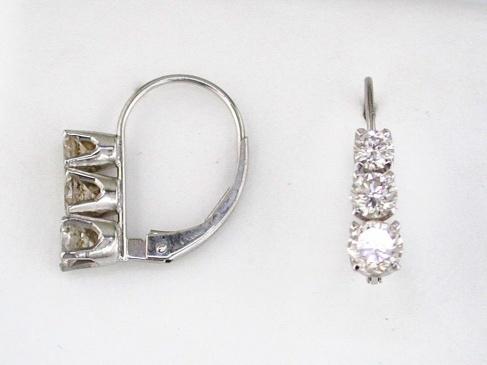Royal-14 kt. White Gold Diamond Earrings.  1 carat tdwt.