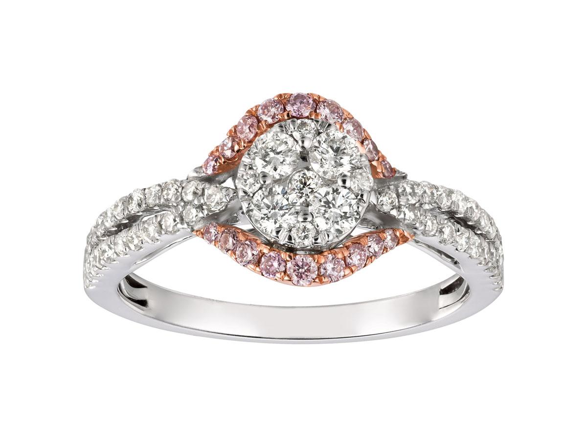Royal 14 kt. White Gold, White & Pink Diamond Ring .66 ct. tdwt, .17 ct pink diamond.