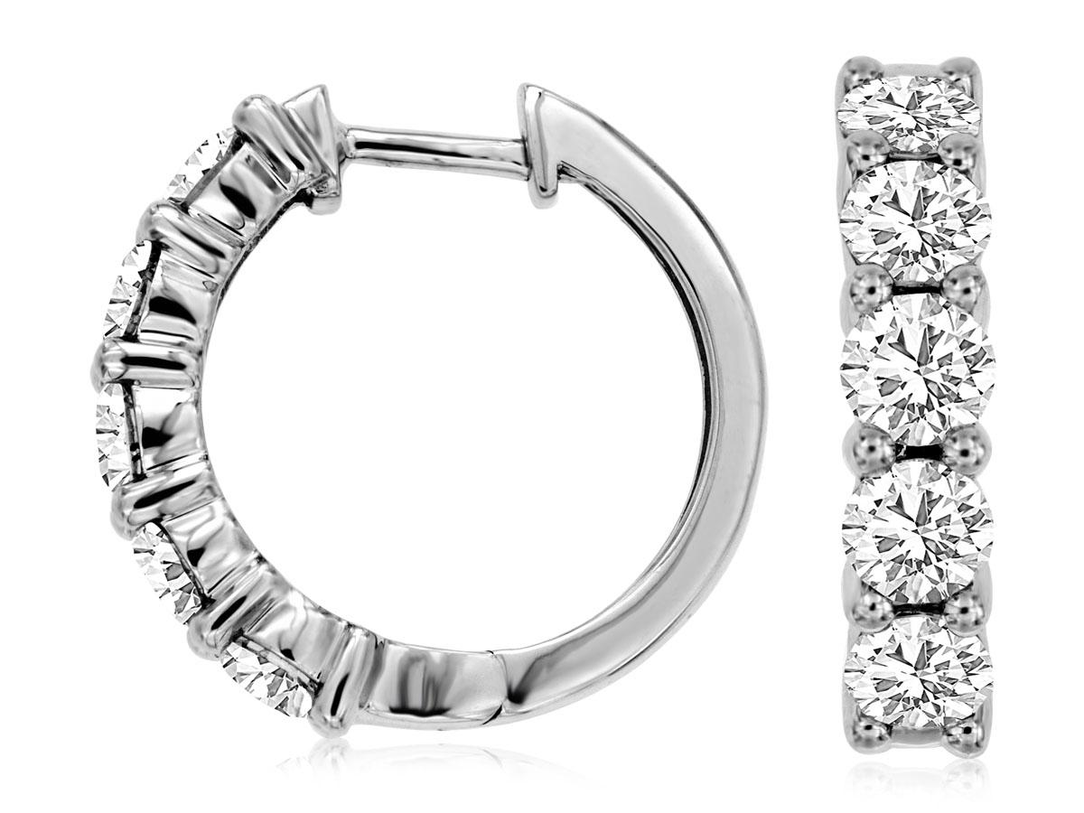 Royal- 14 kt. White Gold Diamond Hoop Earrings.  2.0 ct. tdwt.