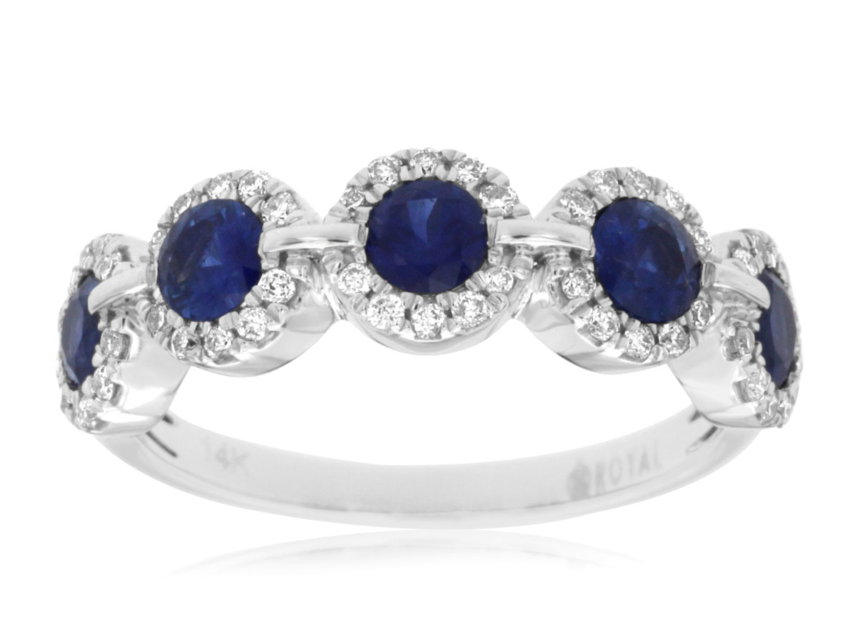 Royal-14 kt. White Gold Daimond & Sapphire Ring.  .27 ct. tdwt.  1.0 ct. Sapphire