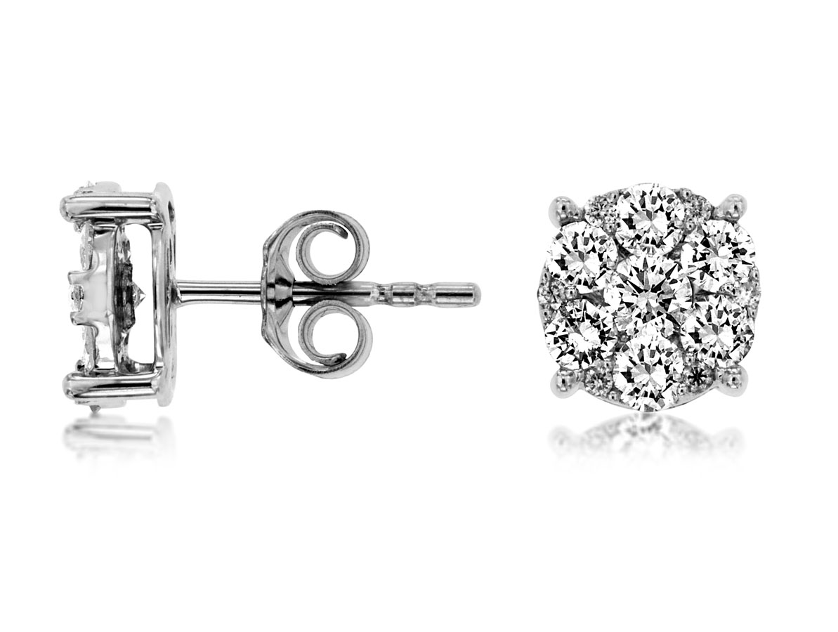 Royal-14 kt. White Gold Diamond Earrings. 1.0 ct. tdwt.