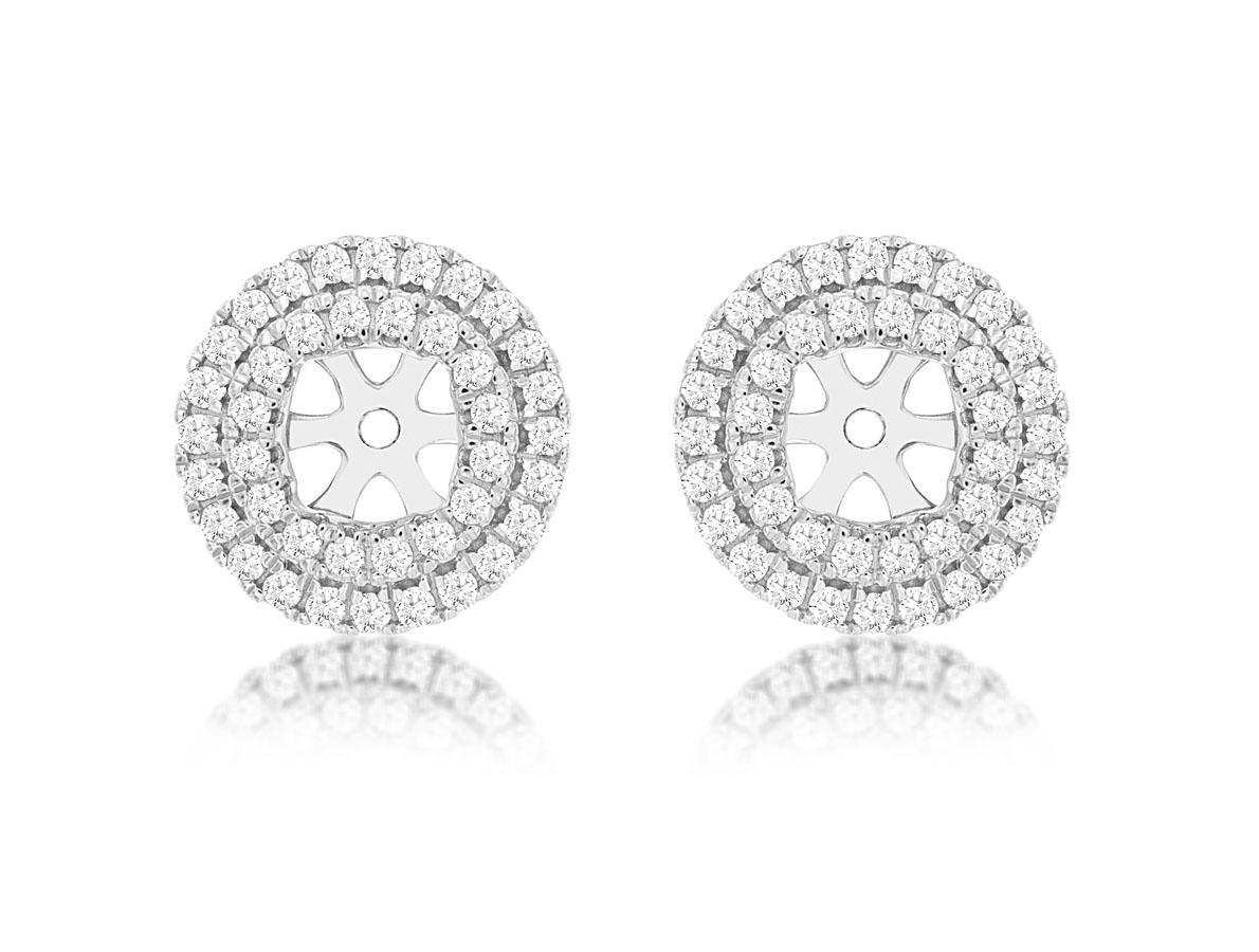Royal- 14 kt. White Gold Diamond Earring Jackets.  .58 ct tdwt.