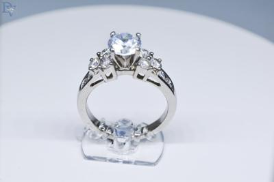 Platinum Diamond Semi Mount Engagement Ring.  Designed With 10 Round Cut Diamonds.  SI1 Clarity, GH Color.  .70 carat total diamond weight.  Sku#140-00872